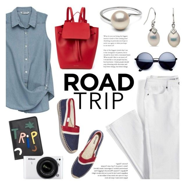 """Summer Road Trip Essentials"" by pearlparadise ❤ liked on Polyvore featuring Lands' End, Bobeau, Soludos, Mansur Gavriel, Lizzie Fortunato Jewels, Nikon, roadtrip, contestentry, pearljewelry and pearlparadise"