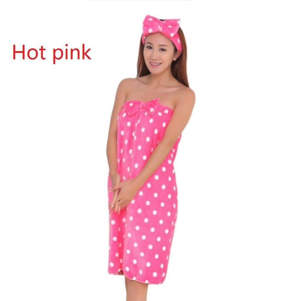 48b0bfcf4c Women Body Spa Bath Towel Shower Bow Wrap Soft Bath Robe Bathrobe ...