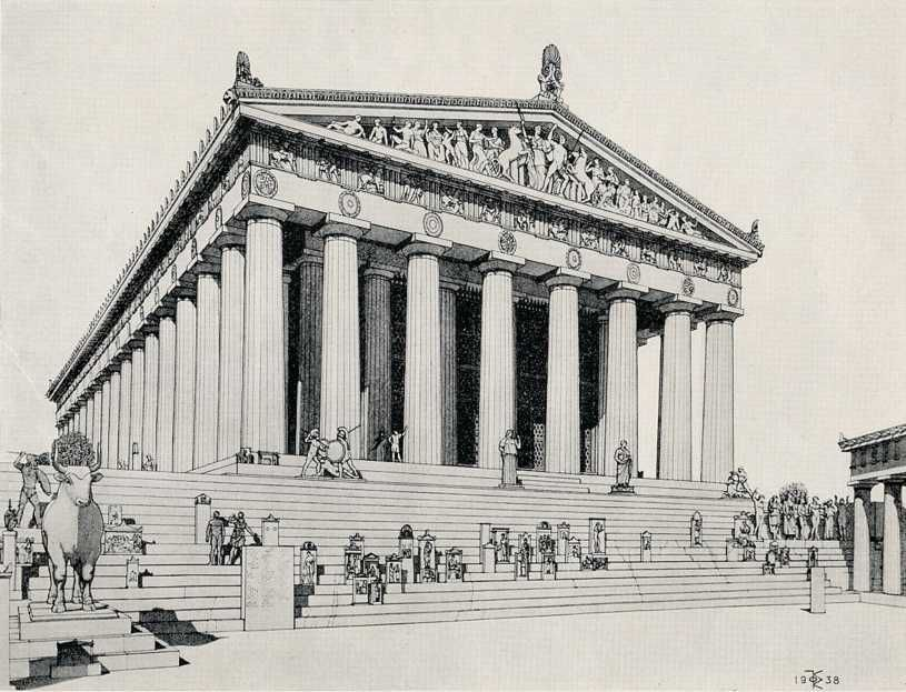 Drawing By Gorham P Stevens 1938 Of Restored Parthenon