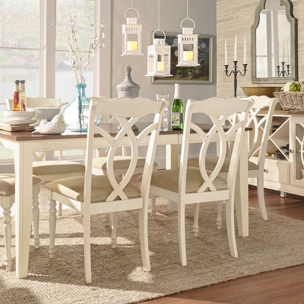 Tribecca Home Watson Open Back Casual Dining Chairs Set: Shayne Country Antique White Beige Dining Chairs By