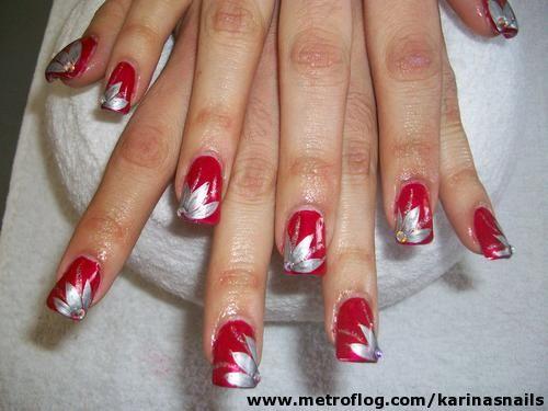 Rojo Plateado Arte De Las Unas Pinterest Nails Toe Nails Y