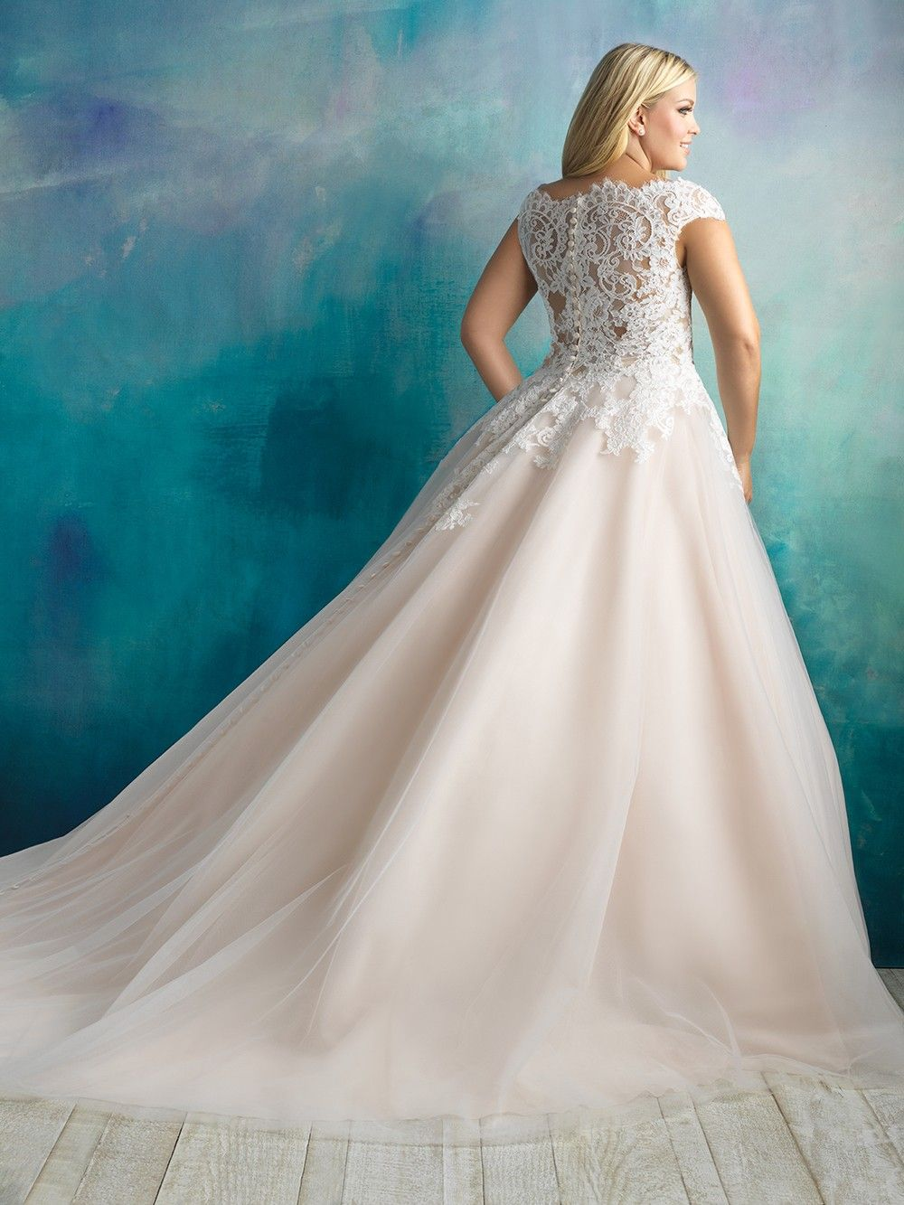 Allure Bridals W419 Bateau Neckline Plus Size Bridal Gown Allure
