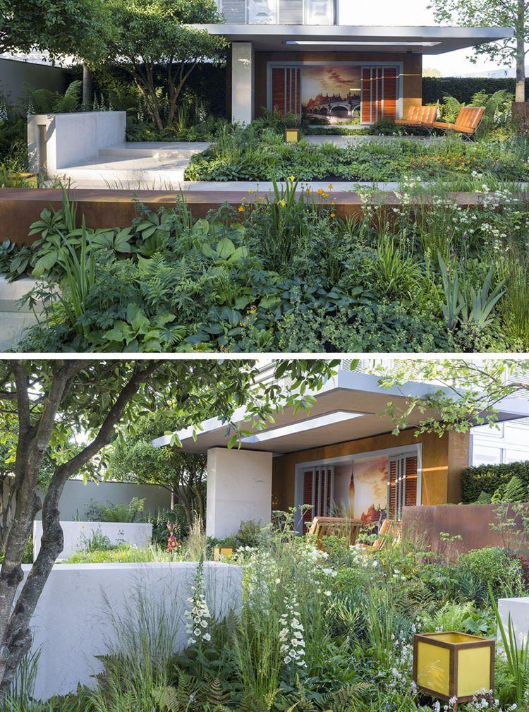 Moderne Gaerten Gartengestaltung Trends Ueppig Terrassiert Hanglage  Cortenstahl
