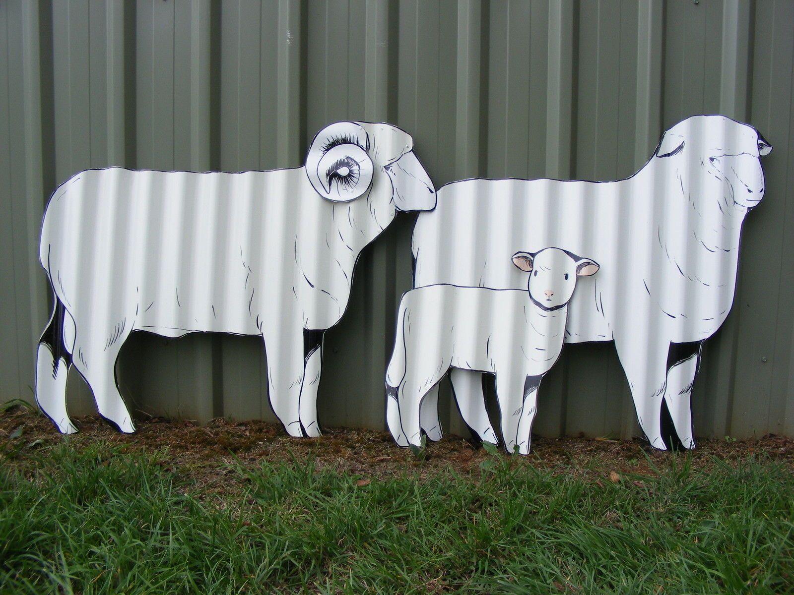 Sheep Set Aussie Handpainted Corrugated Iron Garden Ornament Yard Art Sculptures In Home Outdoor Living Décor Ebay