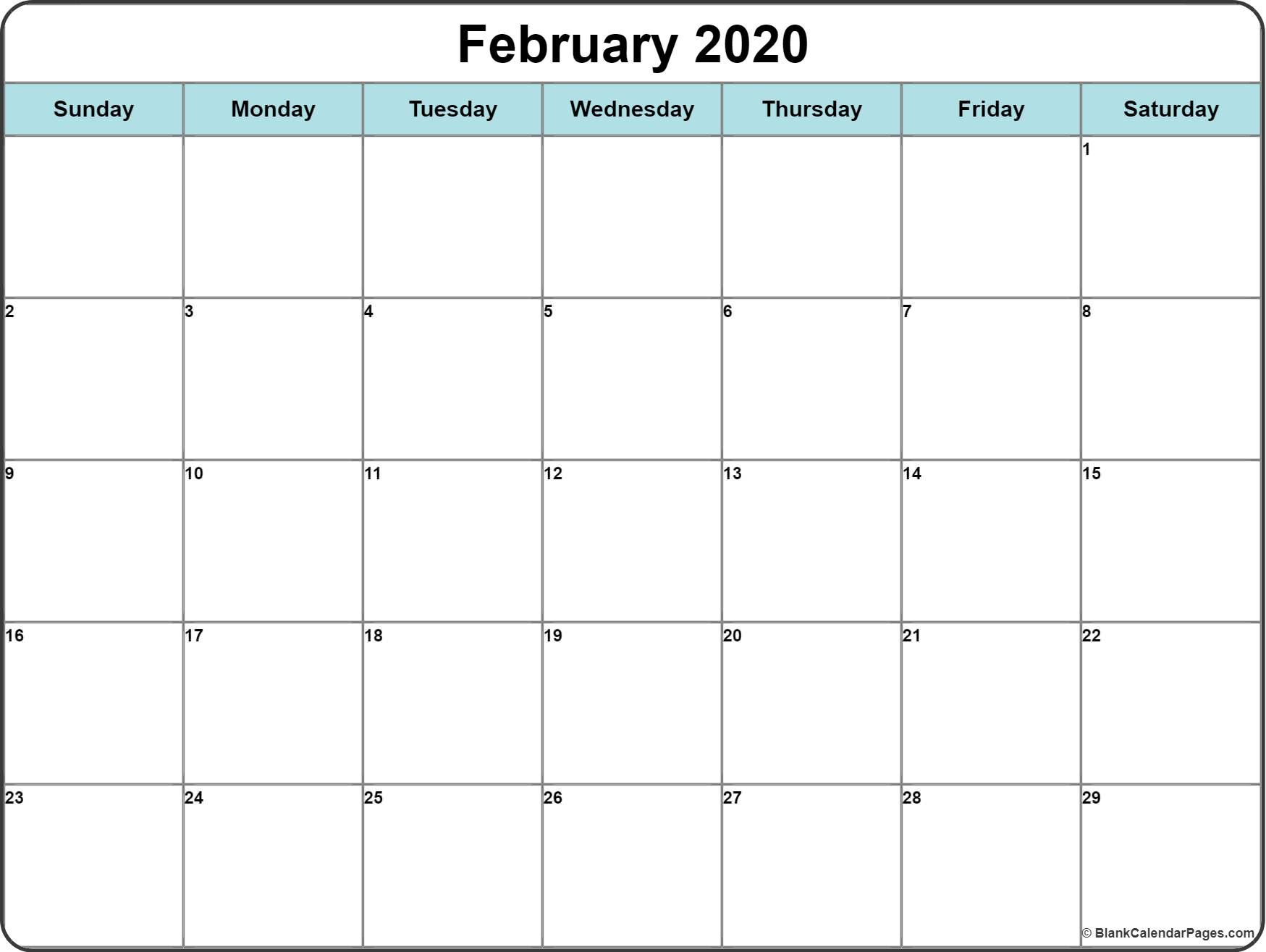 Monthly 2020 Printable Calendar Template With Images Printable