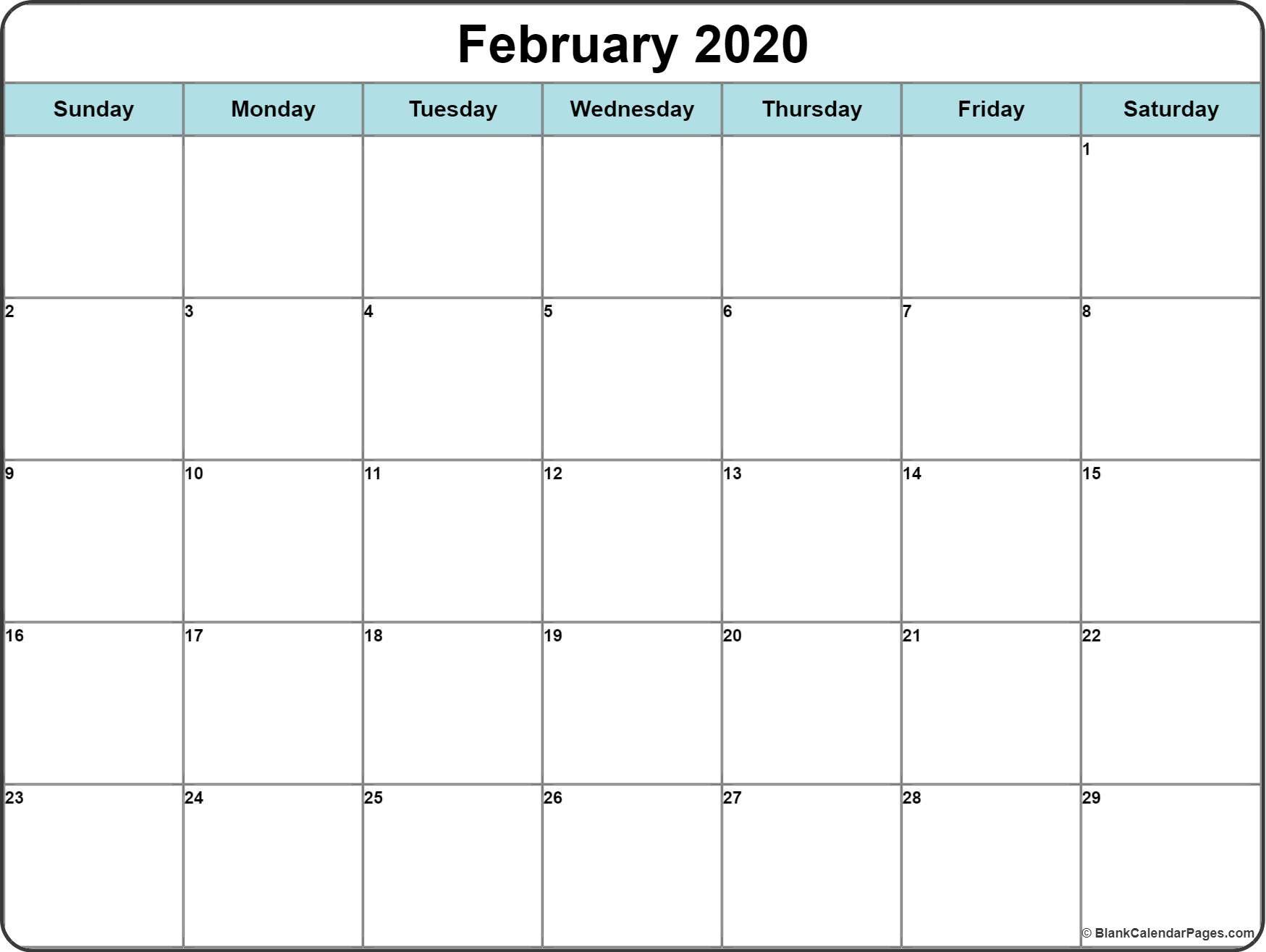 February 2020 Printable Calendar Template 2020calendars 2020printablecalendar 2020monthlycalendar Calendar Printables Calendar Word Free Printable Calendar