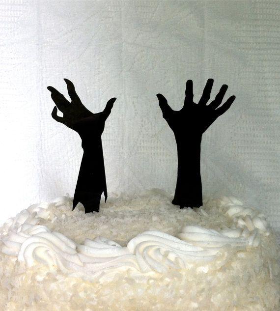 Zombie Wedding Cake Topper Zombie Apocalypse Cake Topper Halloween Cake Topper Zombie Hands Silhouette Wedding Cake Topper