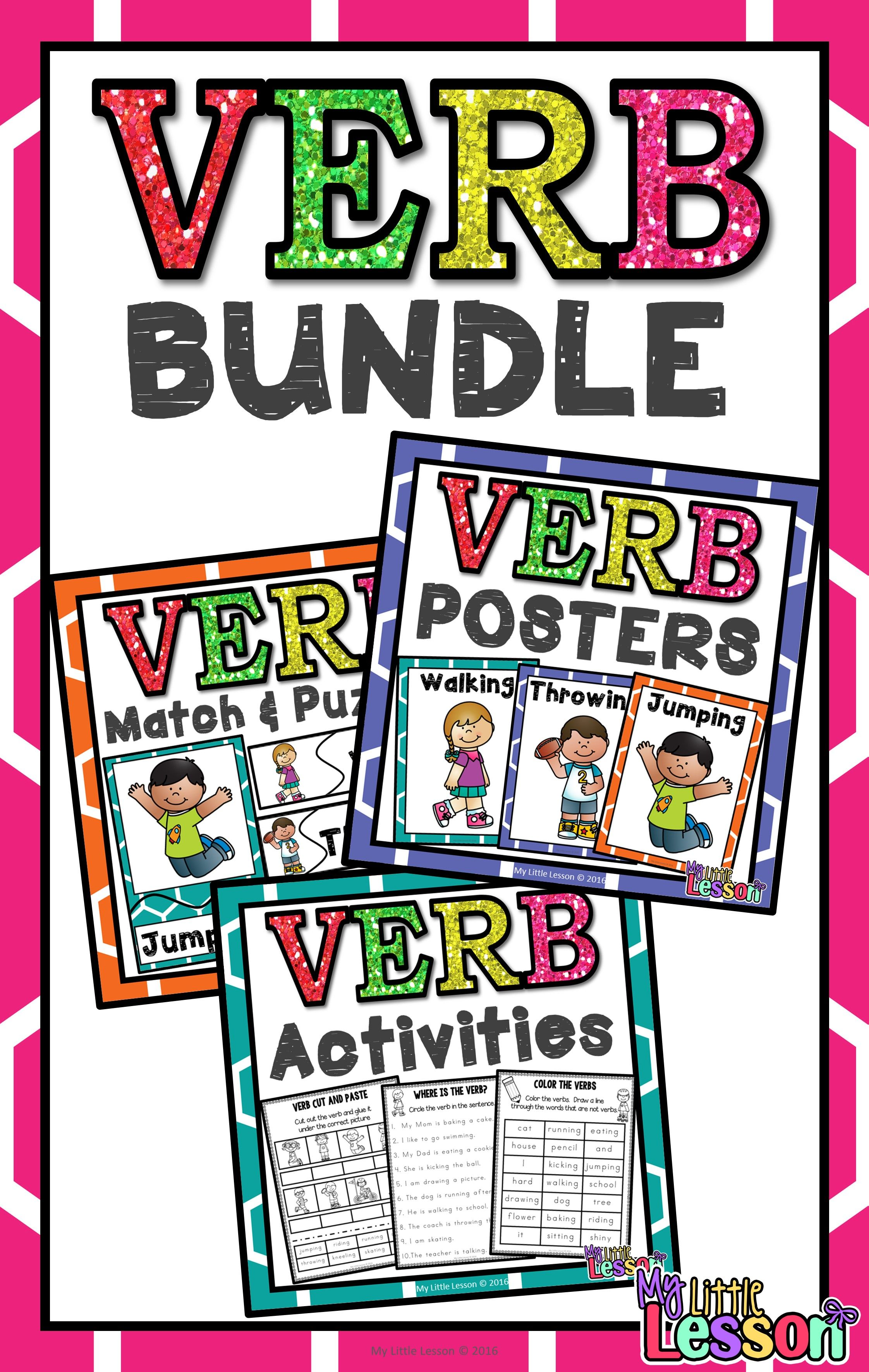Verb Bundle Worksheets Posters And Activities
