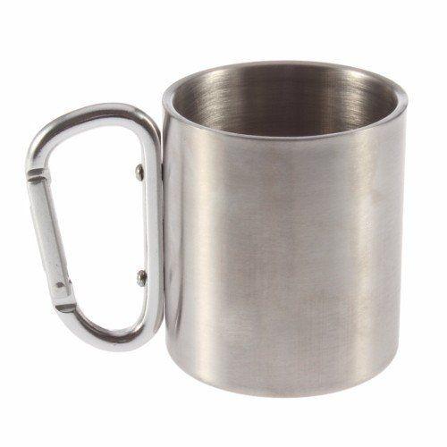 Tasse en acier inoxydable avec mousqueton