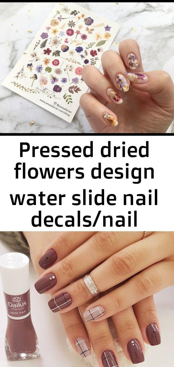 Gepresste getrocknete Blumen entwerfen Wasserrutsche-Nagelabziehbilder / Nagel-T…
