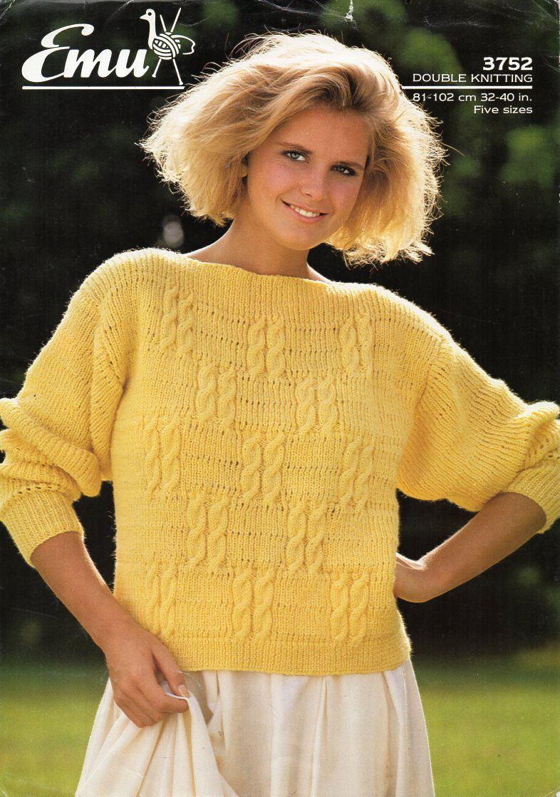 1a65fdae099f6 ladies sweater knitting pattern PDF DK womens cable slash neck jumper 32-40  inch DK light worsted 8ply Instant Download by Hobohooks on Etsy