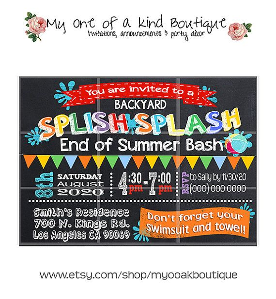 End Of Summer Party Invitation Pool Party Splash By Myooakboutique