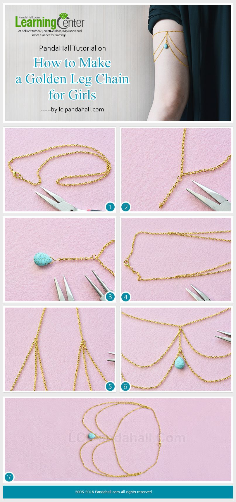 Pandahall tutorial on how to make a golden leg chain for girls from
