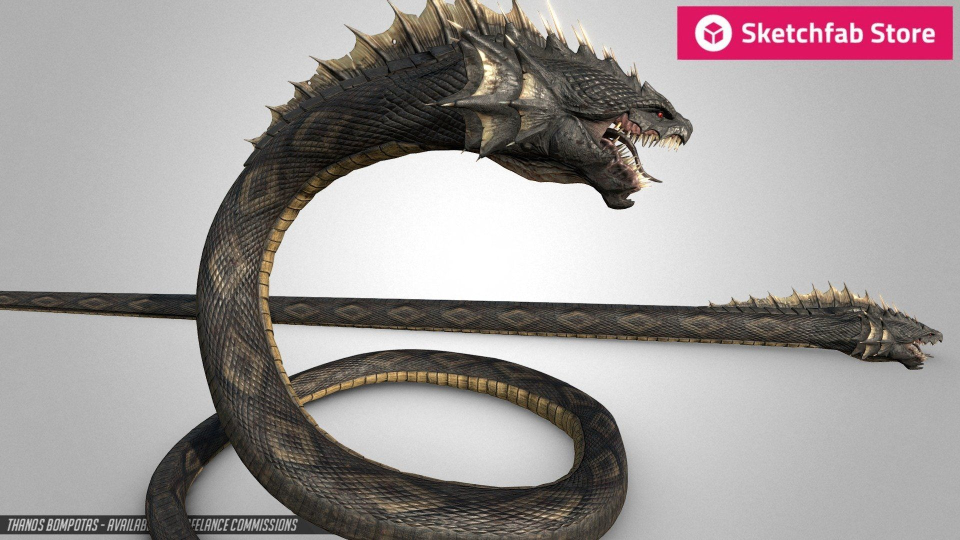 Store Item: 25$ Snake Dragon - Hydra Head - Buy Royalty Free 3D