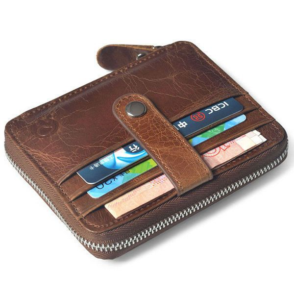 Mens Genuine Leather Vintage Card Coin Case Zipper Hipster Wallet Cowhide Purse