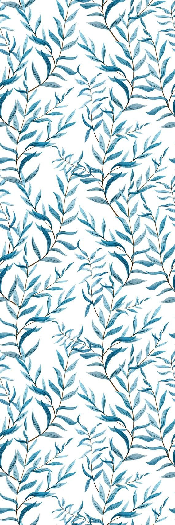 Removable Wallpaper Mural Peel Stick Blue Leaves Watercolor Etsy Iphone Background Wallpaper Mural Wallpaper Cute Patterns Wallpaper