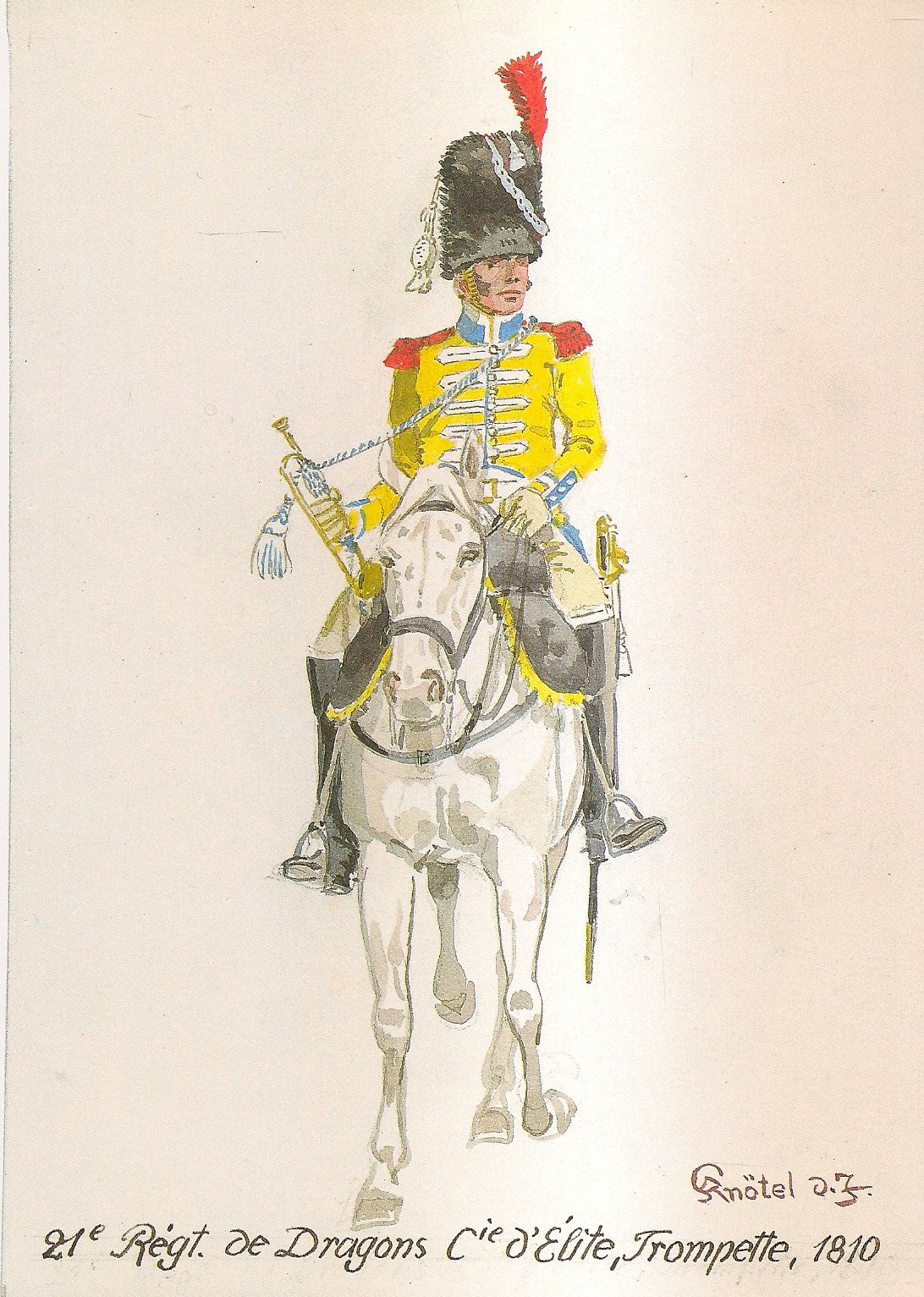 French; 21st Dragoons, Elite Company, Trumpeter, 1810 by H.Knotel