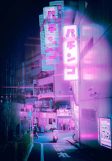 Neon Tokyo Street Photographic Print By Opticpixil Neon Photography Neon Aesthetic Aesthetic Japan