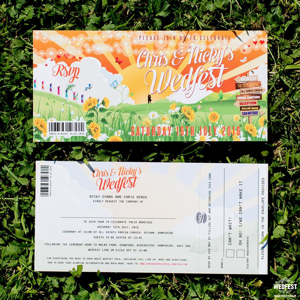 festival ticket wedding invite http://www.wedfest.co/chris-nickys-glastonbury-inspired-festival-wedding/