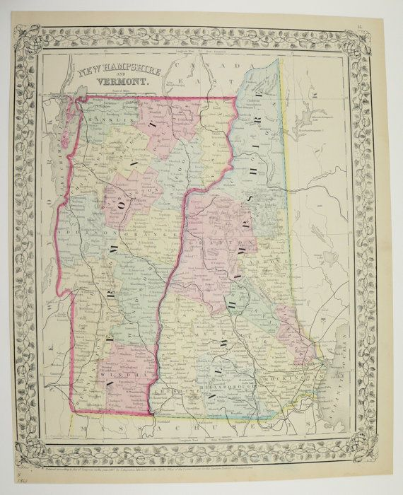 1869 Vintage Map Of Vermont And New Hampshire Original Mitchell Map - Us-map-1869