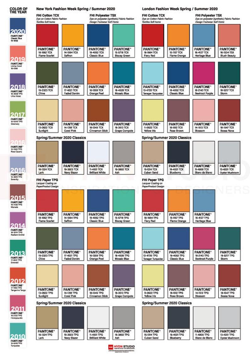 2020 PANTONE Fashion trend color palette / pantone poster