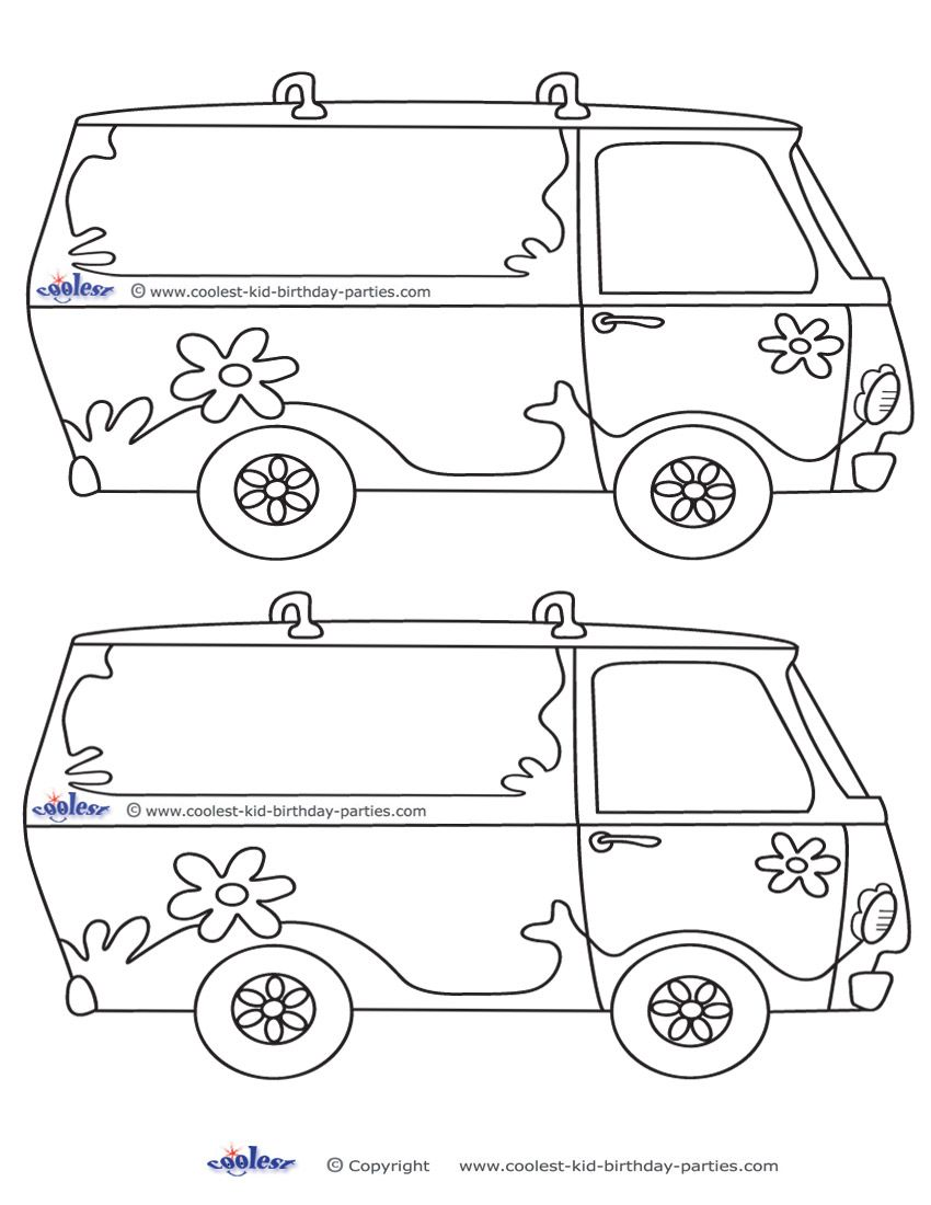 Blank Printable Mystery Van Invitations Scooby Doo Birthday Party Scooby Doo Disney Coloring Pages