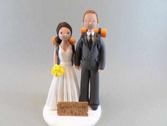 Wedding Cake Topper Custom Handmade Hiking Theme Weddings