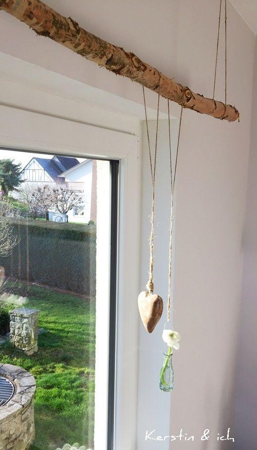 Baumstamm als Gardienenstange  wohnen  Gardinen