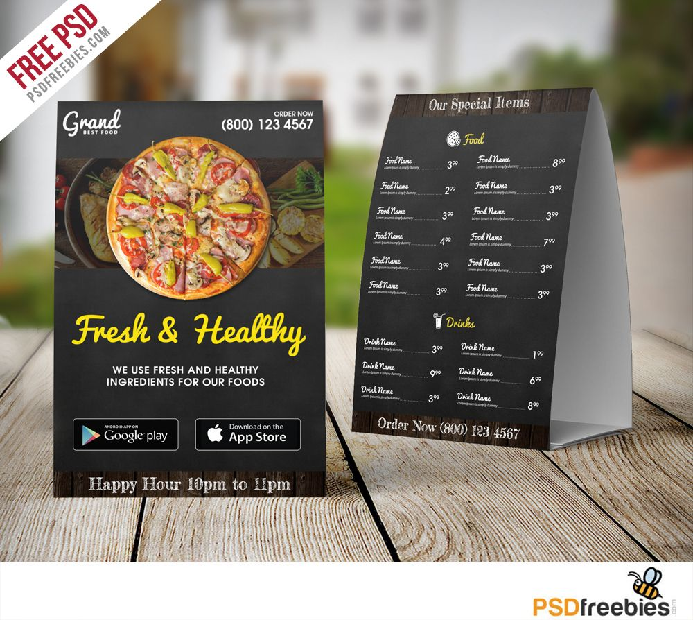 Restaurant Food Menu Table Tent Template Free Psd Restaurant