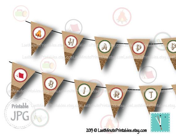 campout party, campfire, camp printable, holiday banner, happy