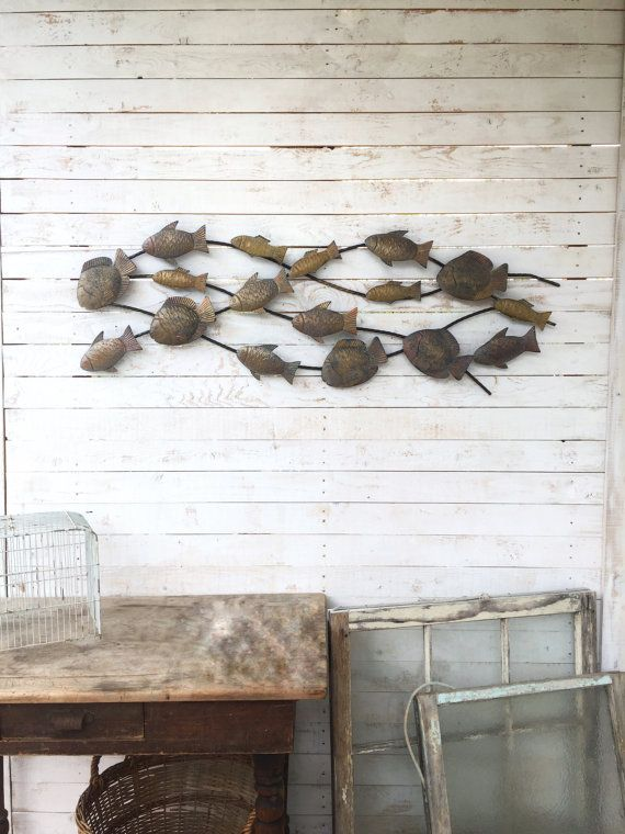 High Quality Metal School Of Fish Wall Art Metal Wall Decor By CamillaCotton