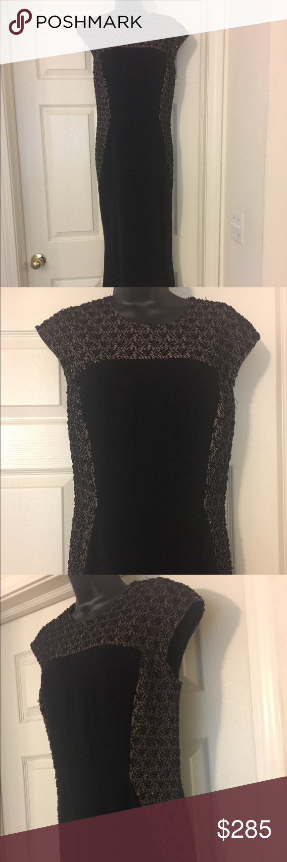 Black couture evening gown with beaded sides Gorgeous couture gown with beaded sides with nude underlay. Sleeveless & fitted gown! Carmen Marc Valvo Dresses Maxi