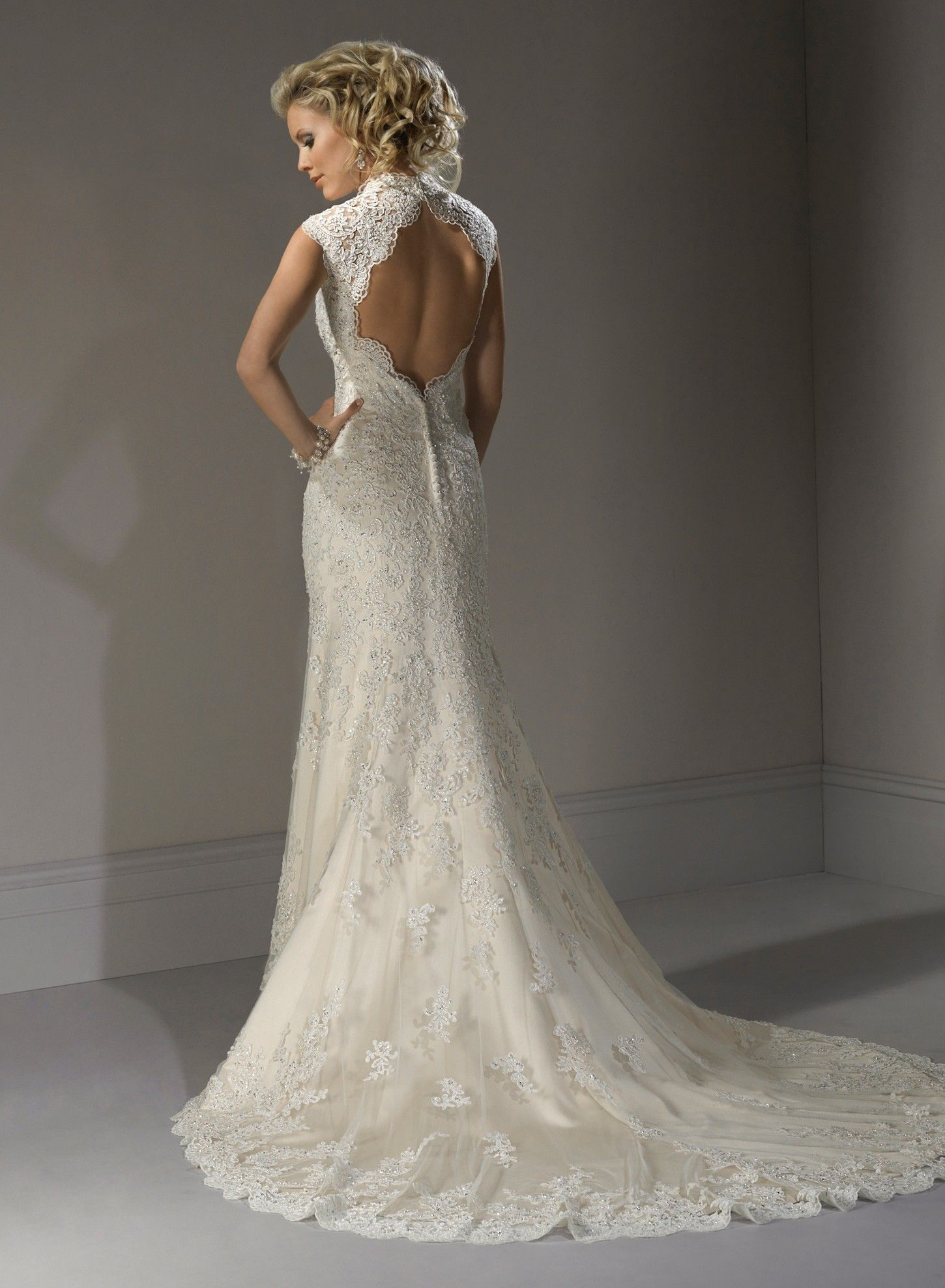 Lace cap sleeve a line wedding dress  Lace back  Wedding  Pinterest  Lace weddings Wedding dress and