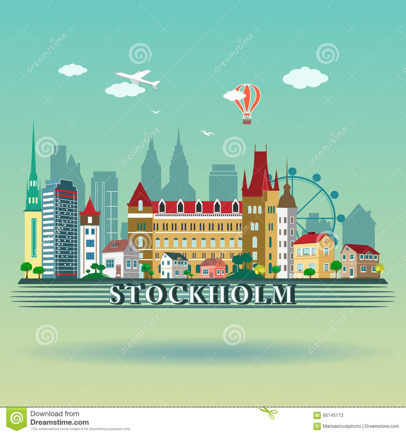 City buildings graphic template. Royal Palace Stockholm. Clipart    k35755104   Fotosearch