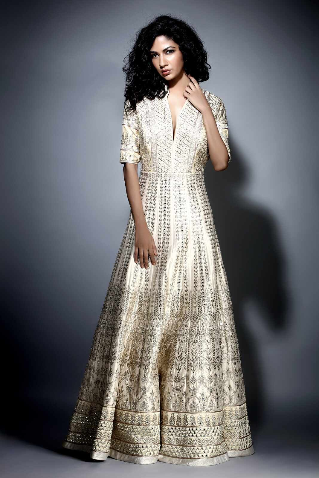Gota Patti Pearl Raw Silk Gown | Silk gown, Gowns and Floral shoes