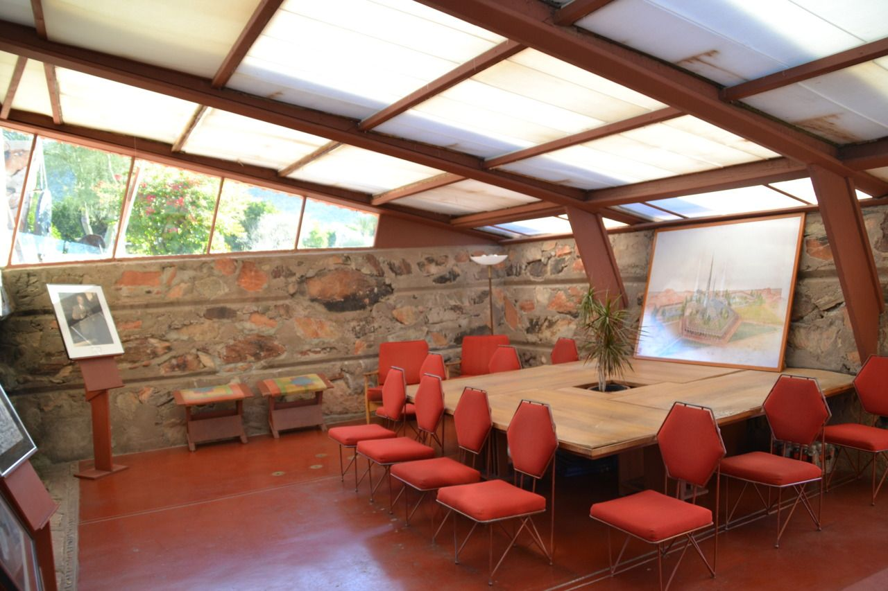 Frank Lloyd Wrightu0027s Original Office (now The Visitor Center) In Taliesin  West, Scottsdale · Frank Lloyd WrightInterior DesignGoogle ...