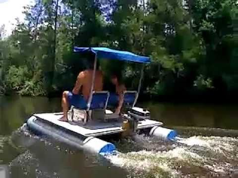 Mini Pontoon Boat On Perdido River Camping Fishing