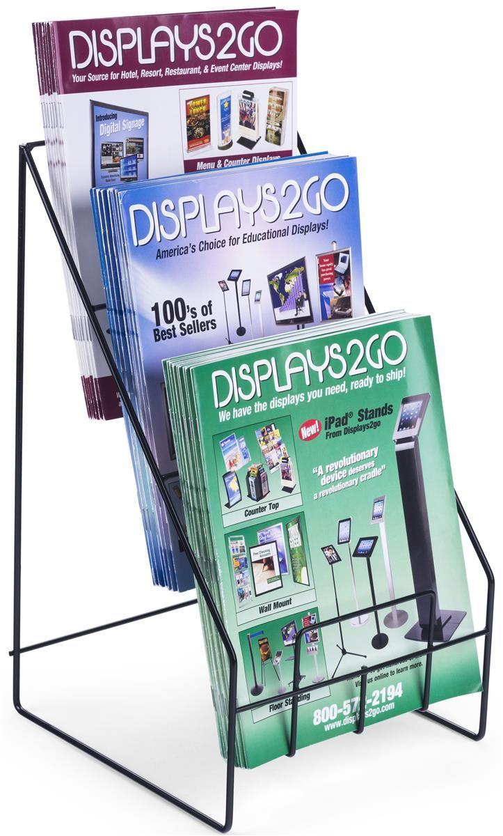 3 Tiered Wire Literature Rack 4 8 5 W Tabletop Header Black Magazine Holders Wired Magazine Brochure Stand