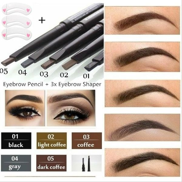 5 Colors Eyebrow Pencil Kit with Brush Cosmetics Long ...