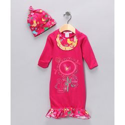 ON #SALE this weekend  Baby Nay - Fuchsia Love Birds Gown & Single-Knot Beanie    WAS:$55.00  50%OFF  NOW:$26.99  #Baby and #Kid #Deals -The Real #Steals This Weekend