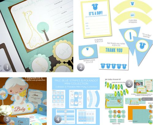 5 Free Printable Baby Shower Party Kits In Blue