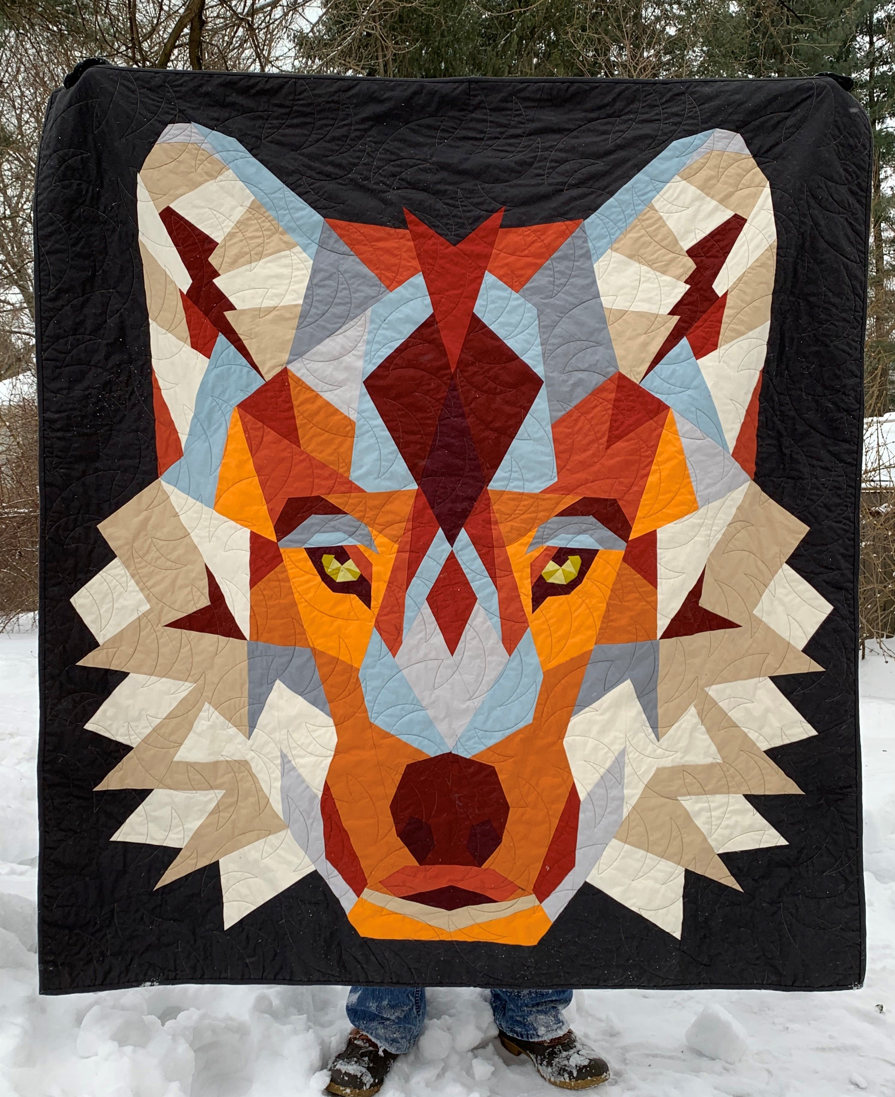 Wolf Abstraction Quilt Foundation Paper Pieced Pattern