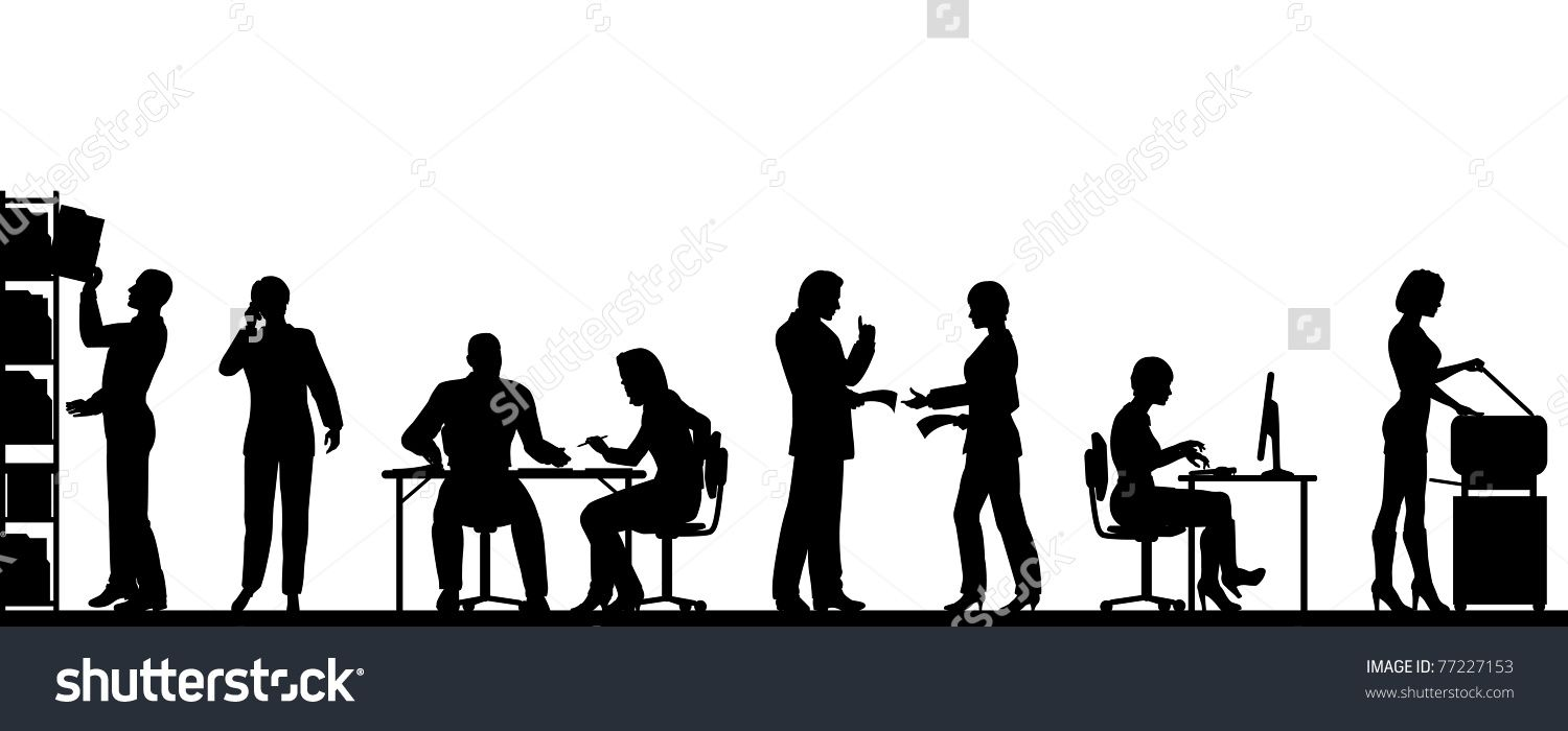 Editable Vector Silhouettes People In A Busy fice With All