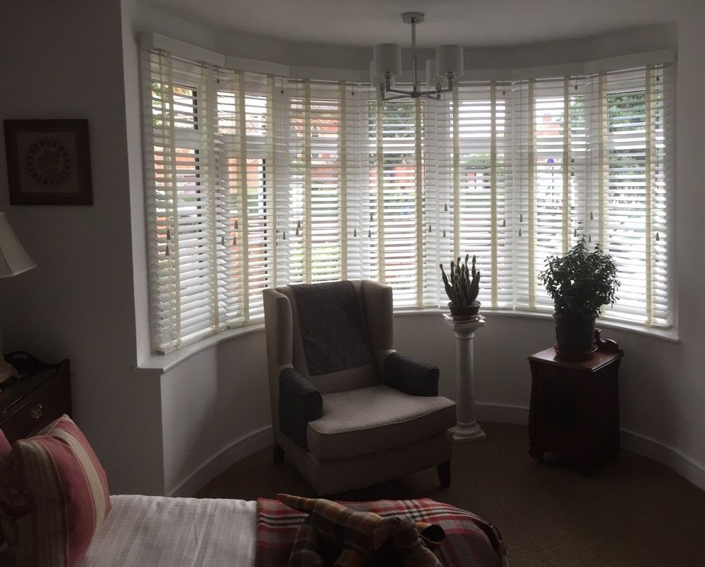 Wood venetian blinds in chalk supplied and installed by The Blind