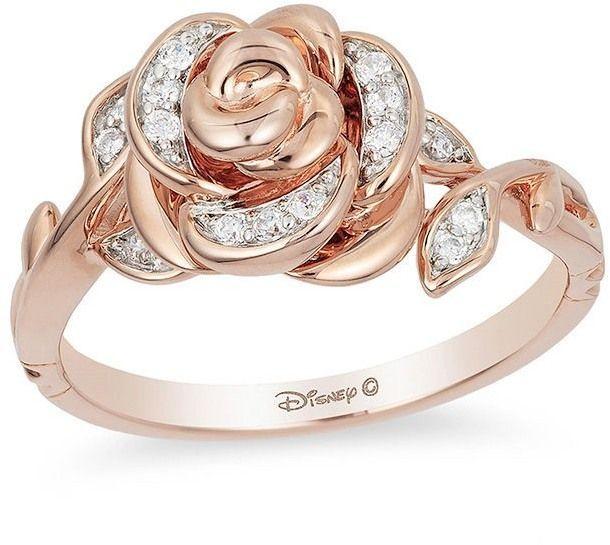 Zales Enchanted Disney Belle 1 10 Ct T W Diamond Rose Ring In 10k Rose Gold Pink Gold Ring Engagement Pink Gold Diamond Ring Pink Gold Rings
