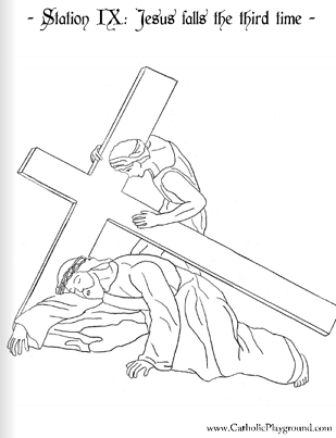 coloring page for the ninth station of the cross jesus falls the