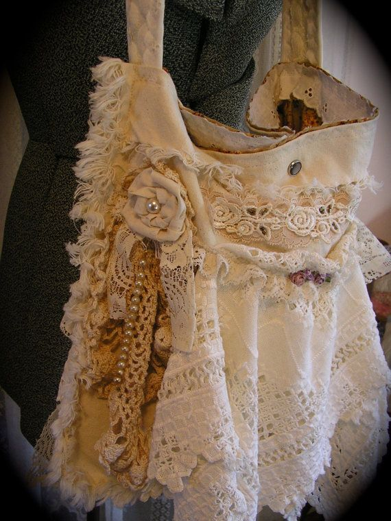 Cottage Shabby Purse, romantic layers of vintage doilies and lace