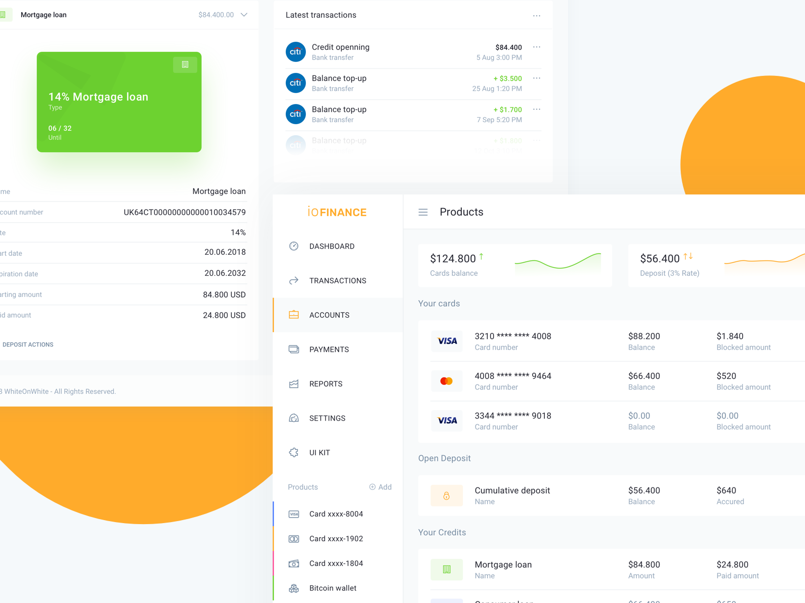 Bank account details - IOFinance UI kit | Dashboards/Web