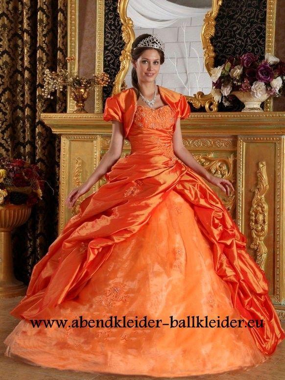 Klassisches Abendkleid Ballkleid in Orange Online | Kleider ...