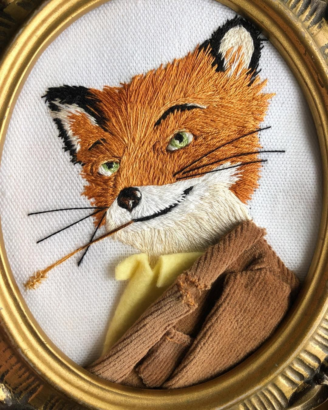 Fantastic Mr Fox Embroidery Lets Make A Ruckus He S Done Well Almost I Just Have To Paint The Frame And Funny Embroidery Animal Embroidery Fox Embroidery